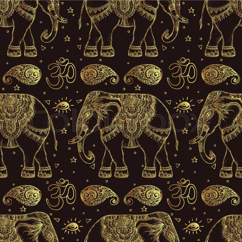 Beautiful Hand Drawn Tribal Style Elephant Seamless Pattern Design