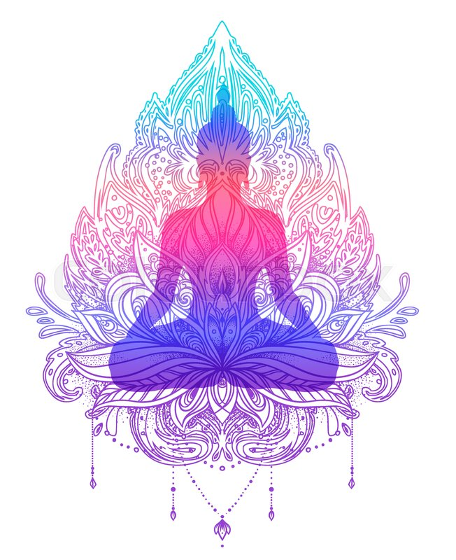 Sitting buddha silhouette over ornamental lotus flower esoteric sitting buddha silhouette over ornamental lotus flower esoteric vector illustration vintage decorative indian buddhism spiritual art mightylinksfo