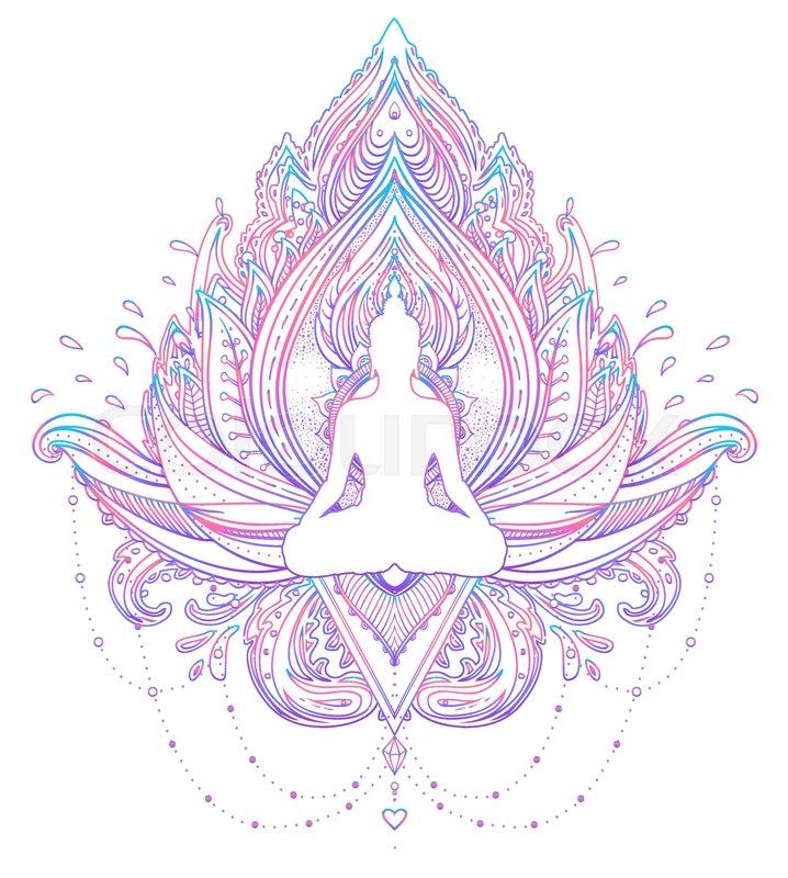 Sitting Buddha Silhouette Over Ornamental Lotus Flower Esoteric