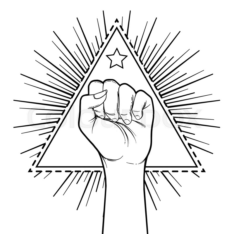 Human Hand Raised Up Over Triangle Shape With Rays Symbol Of