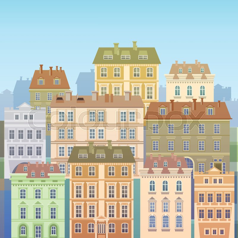 Cartoon Houses Buildings Old Town View Banner Skyline Flat Vector Illustration