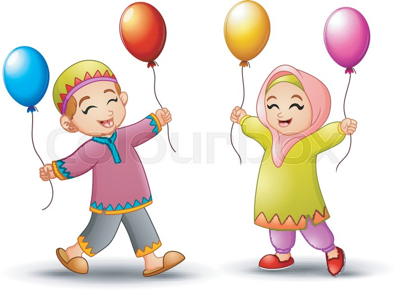 Vector Illustration Of Happy Cartoon Kid Holding Balloon To