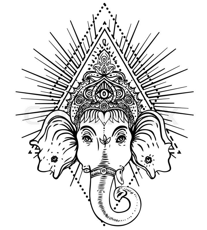 Hindu Lord Ganesha Over Ornate Mandala Pattern Vector