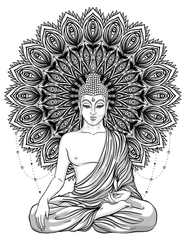 Sitting Buddha Over Ornate Flower Esoteric Vintage Vector