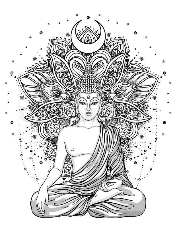 Sitting Buddha Over Ornate Flower Esoteric Vintage Vector Illustration