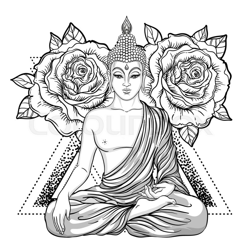 Sitting Buddha Over Ornate Flower Esoteric Vintage Vector