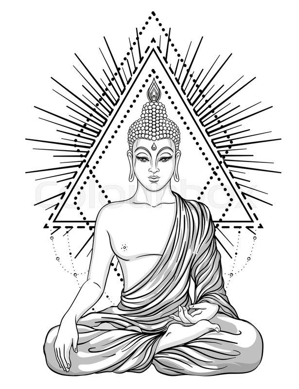 26723067 sitting buddha over ornate rose flower esoteric vintage vector illustration indian buddhism spiritual art hippie tattoo spirituality thai god yoga zen