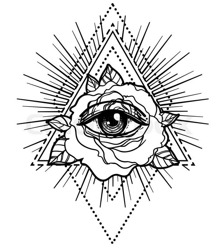 Rosicrucianism Symbol Blackwork Tattoo Flash All Seeing Eye