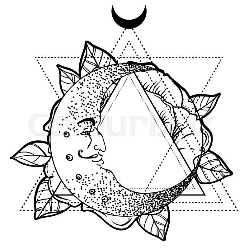 crescent moon  rose flower  sacred geometry  blackwork tattoo flash vector illustration isolated
