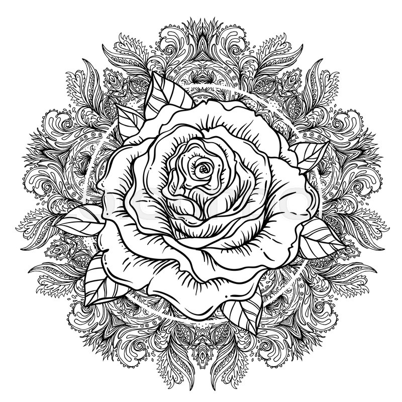 Rose Flower Over Mandala Tattoo Stock Vector