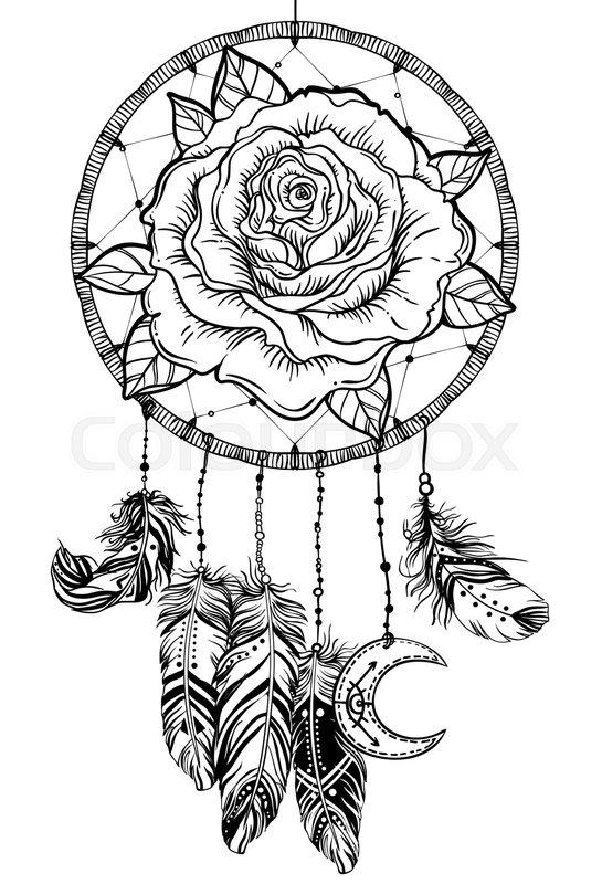 Dream Catcher With Rose Flower Detailed Vector Illustration