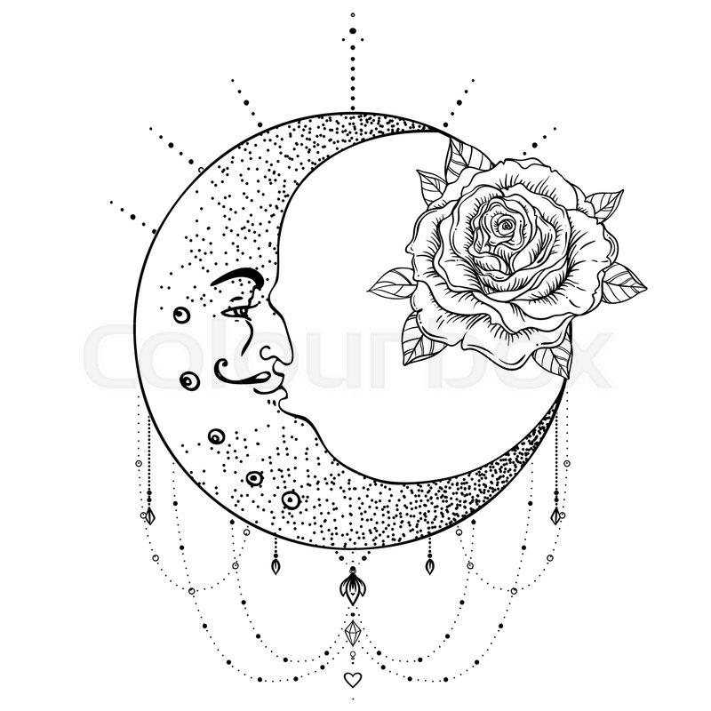 Crescent Moon Rose Flower Sacred Geometry Blackwork Tattoo Flash