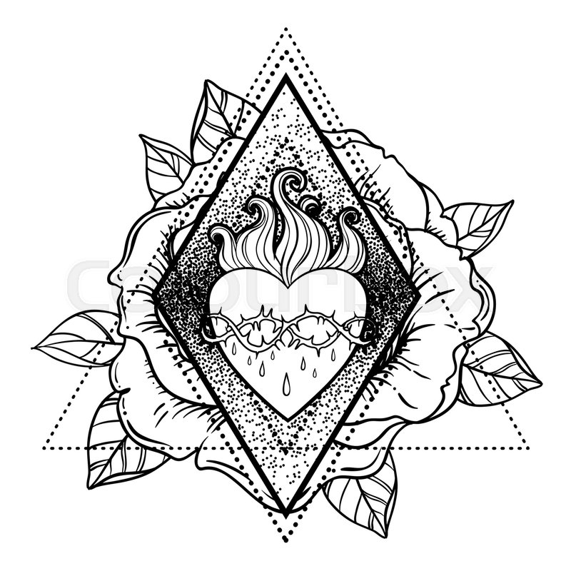 Sacred heart of jesus vector illustration isolated on for Sacred heart of jesus coloring page