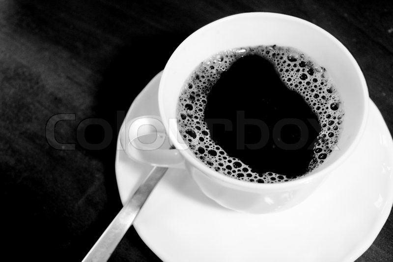 White coffee cup with freshly made coffee, in black and ... House Plans