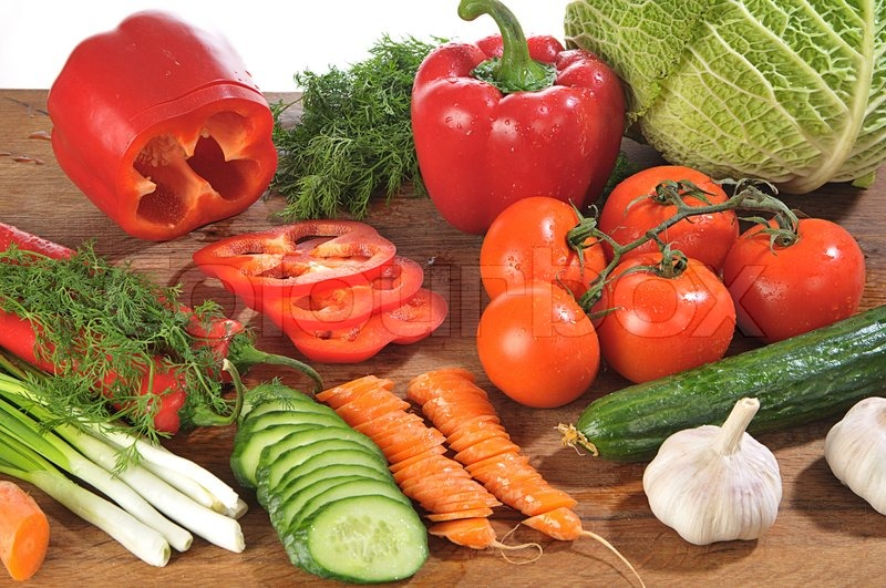 Close Up Shot Of Colorful Different Vegetables On Board | Stock Photo |  Colourbox