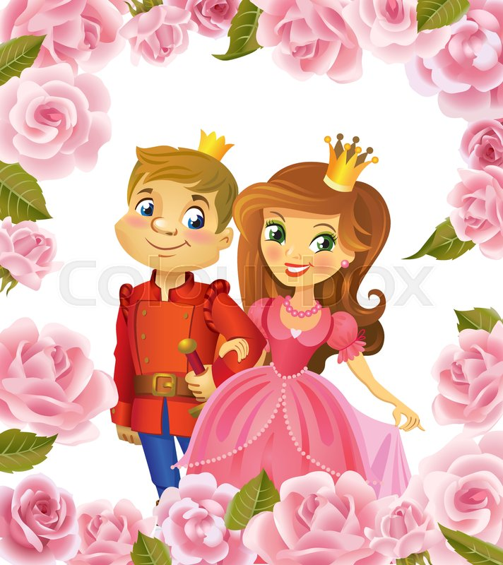 Illustration of beautiful Princess and Prince in frame of roses on ...