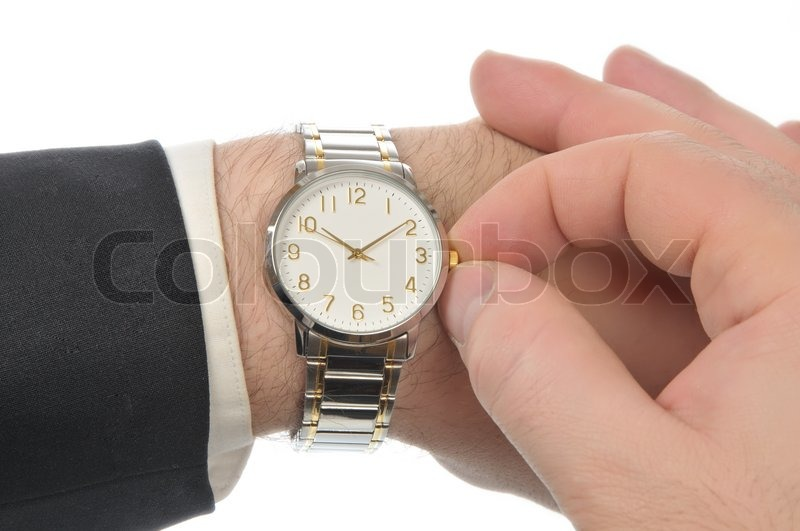 peeking his time stock on jacket shirt of men puts hand image sleeve arm black business right from white wristwatch the photo left watches out under