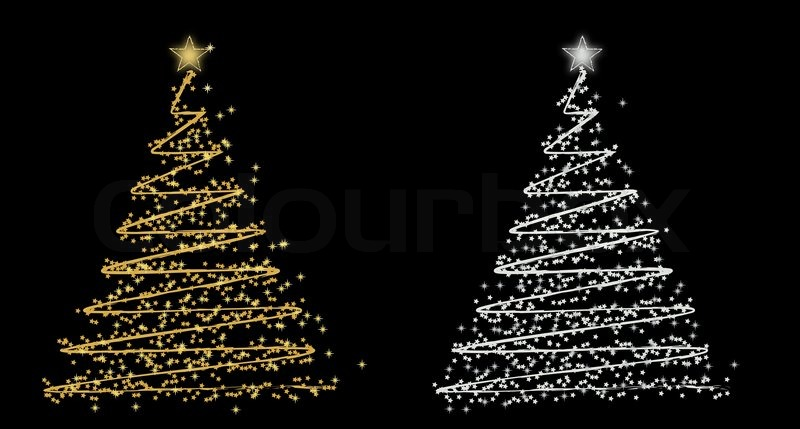 set of rwo vector christmas tree gold and silver stock vector colourbox