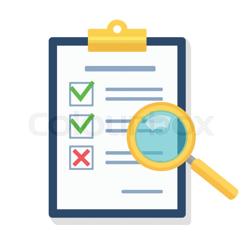Magnifying Glass Over Clipboard With Documentgned Agreement