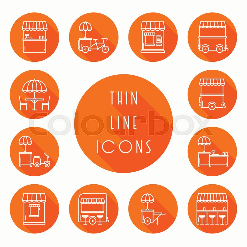 Street Food Retail Thin Line Icons Set Food Truck Kiosk Trolley