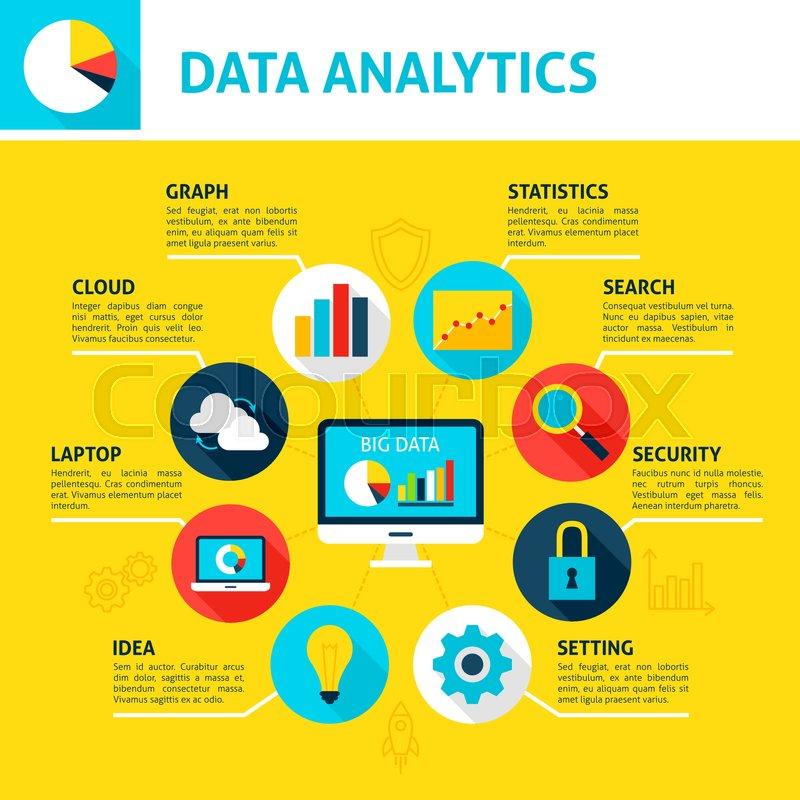 Database Analytics Infographic  Flat     | Stock vector