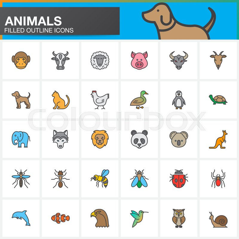 Animals Colorful Line Icons Set Filled Outline Vector Symbol