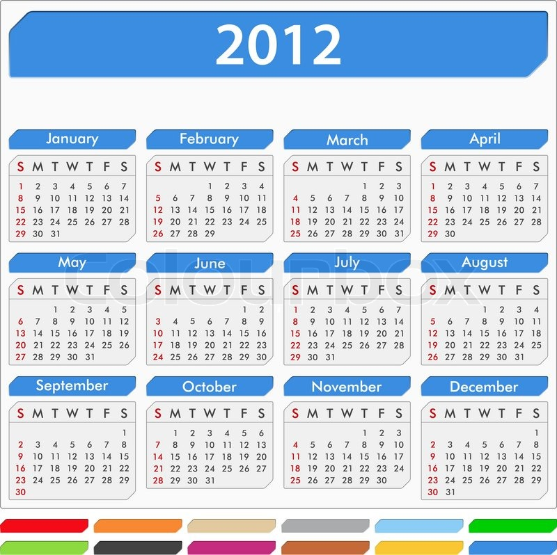 Calendar For 2012 2013 2014 2015 Year Royalty Free Cliparts