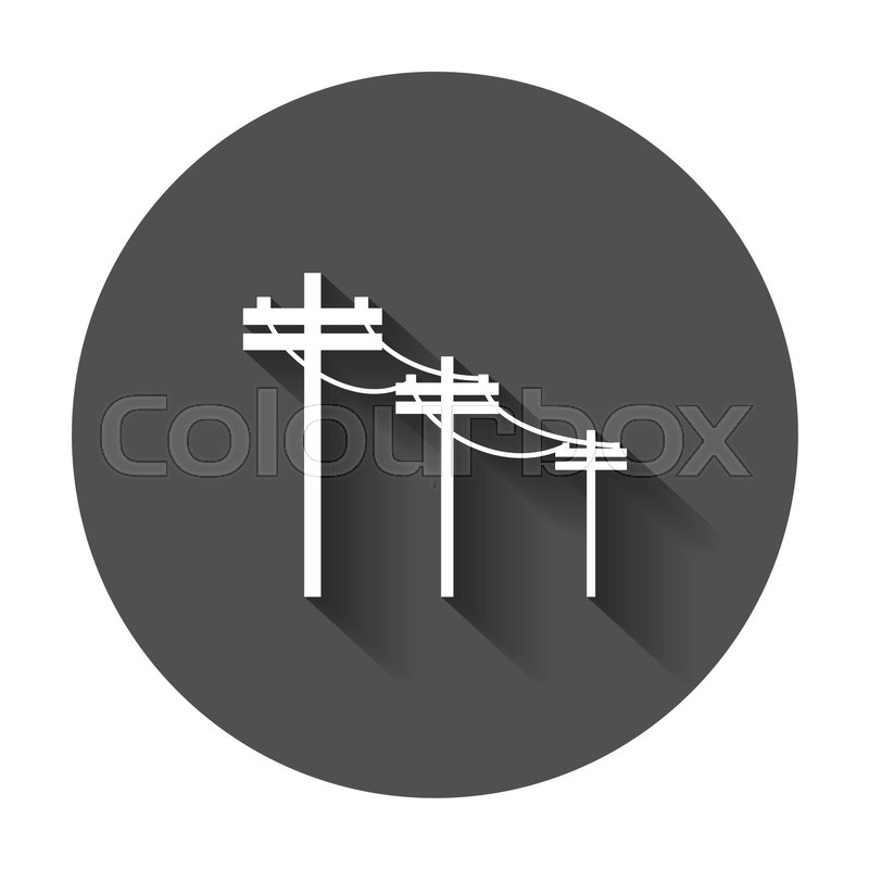 High voltage power lines. Electric pole vector icon with ...