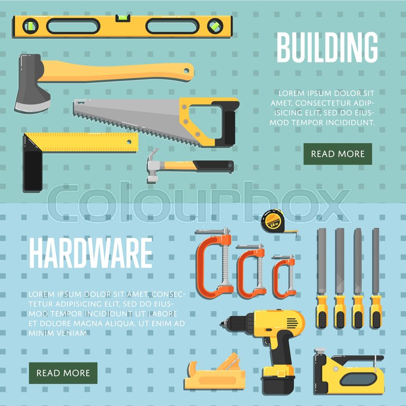 Building Tools Website Templates For Store Vector Illustration. Hand Tools  For Carpentry And Home Renovation. DIY Set. Hardware Store Banner.