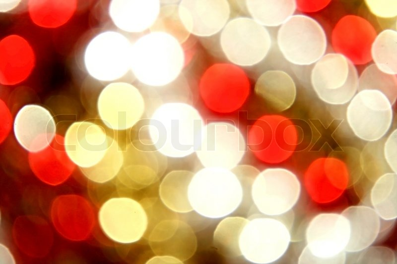 Christmas yellow,red,white lights background | Stock Photo | Colourbox