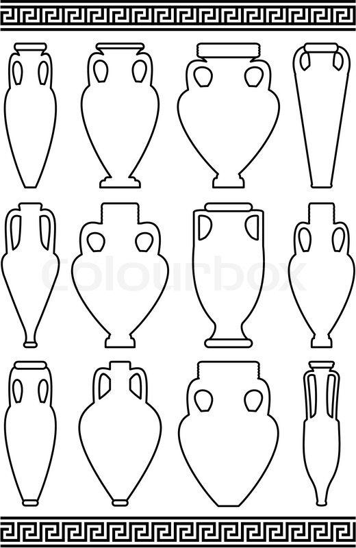 Set Of Black Contours White Silhouettes Of Ancient Amphorae And Vases Traditional Greek