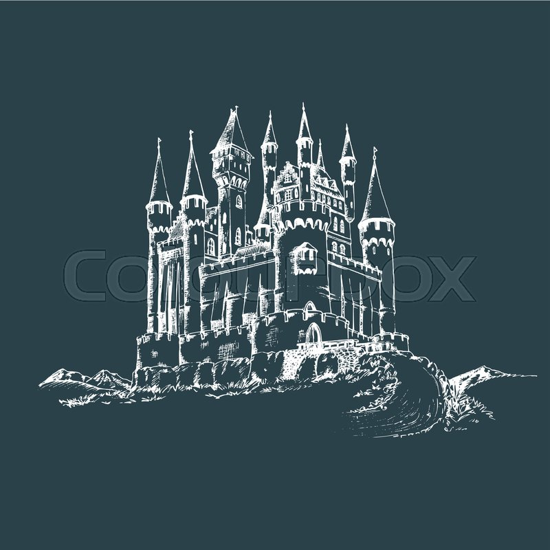 vector old castle illustration gothic fortress background hand