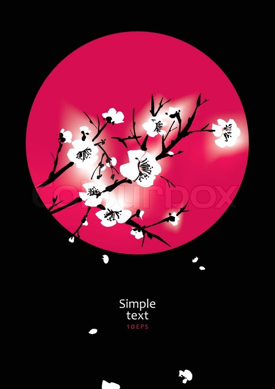 sakura in the red circle black background stock vector