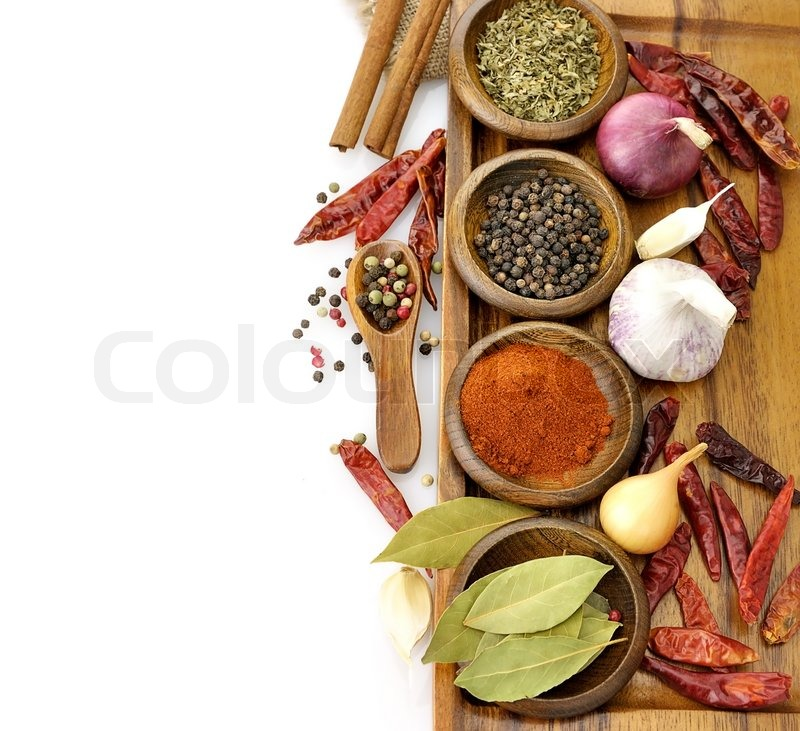 Spices Assortment On A Cutting Board, Top View, stock photo
