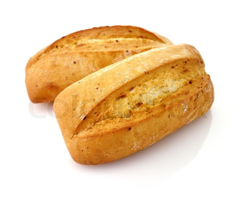 Freshly Baked French Bread Loaves On White Background