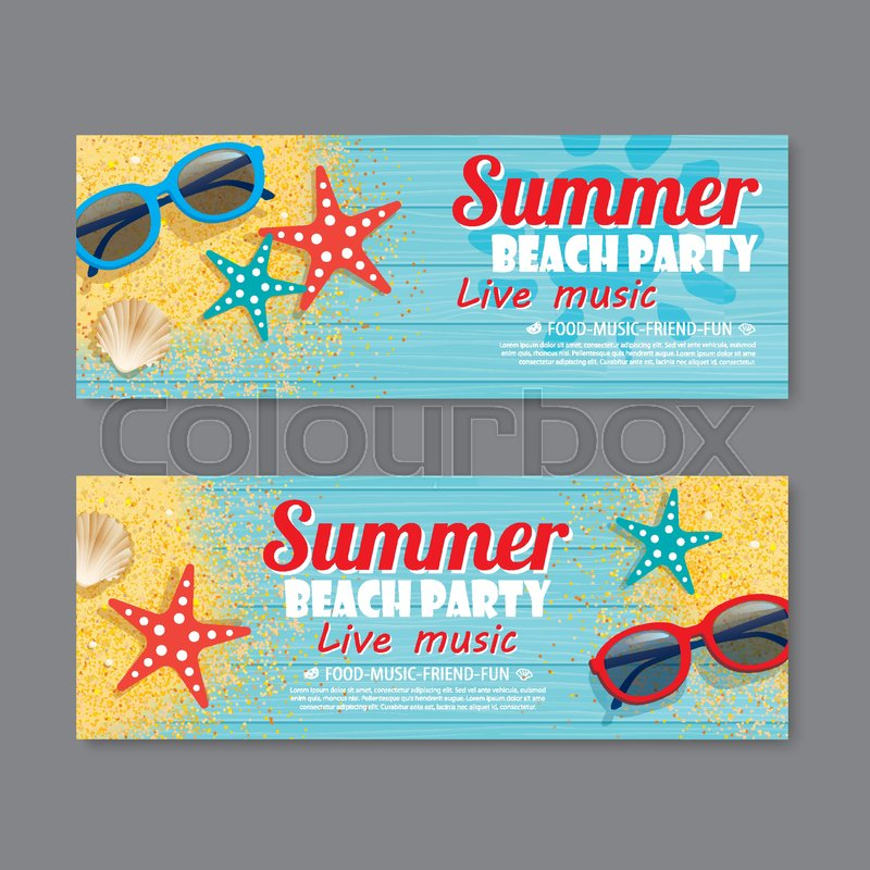 Summer Beach Party Invitation Ticket Template Background | Stock Vector |  Colourbox  Party Ticket Template