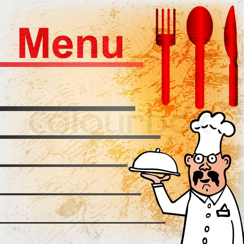 Vector Pattern For Menu List With Italian Chef  Stock Vector