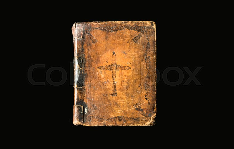 Vintage Leather Look Jeremiah Verse Bible Book Cover Large: Antique Book Isolated On Black Background. Ancient Bible