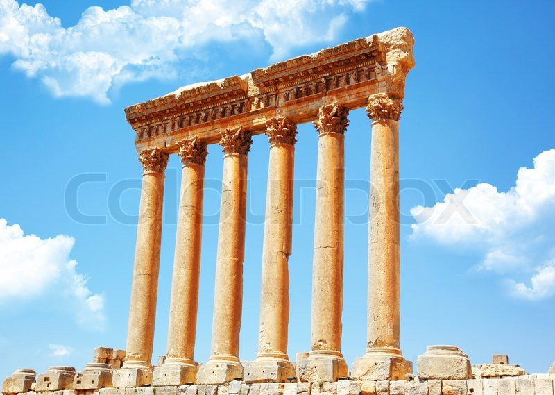 columns, Baalbek, Lebanon'