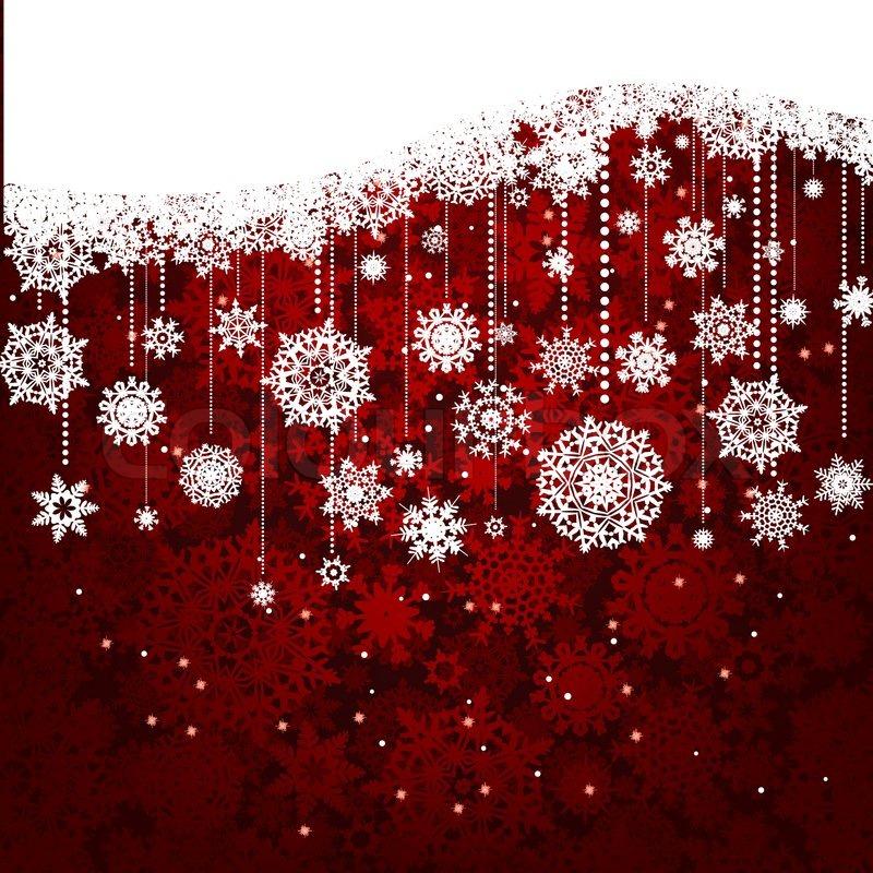 Rote Karte mit Weihnachten Schneeflocken   Vektorgrafik   Colourbox