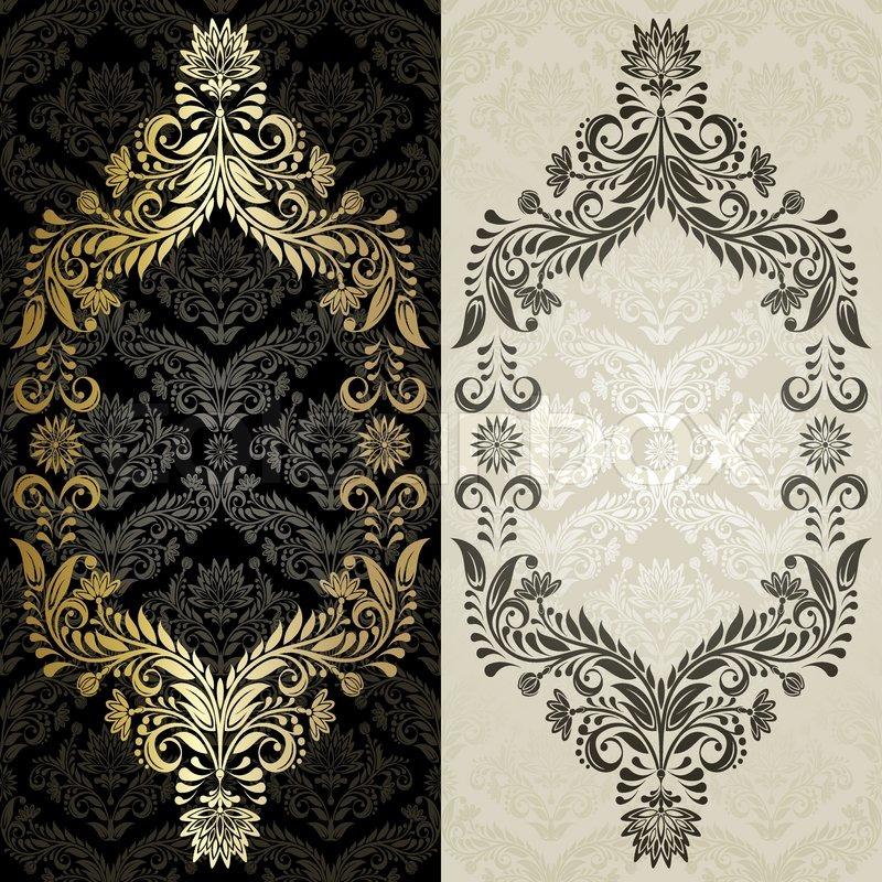 Grau und Gold Rahmen auf dem schwarzen und beige Hintergrund ...