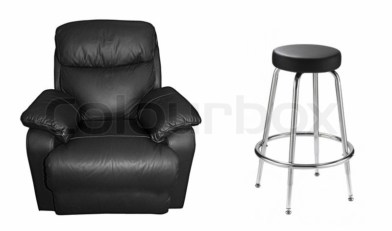 Black sofa and leather chair on white | Stock image | Colourbox
