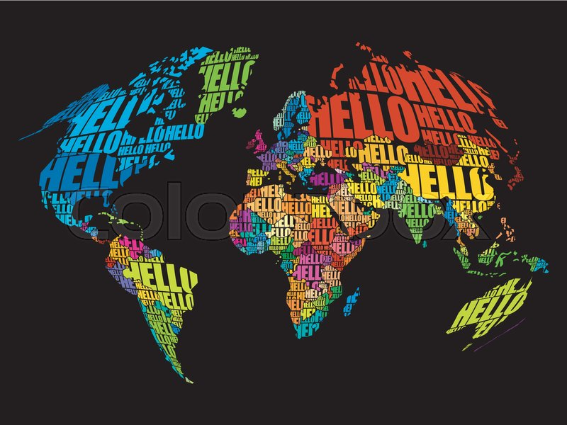 Hello word cloud world map in typography background concept stock hello word cloud world map in typography background concept vector gumiabroncs Image collections