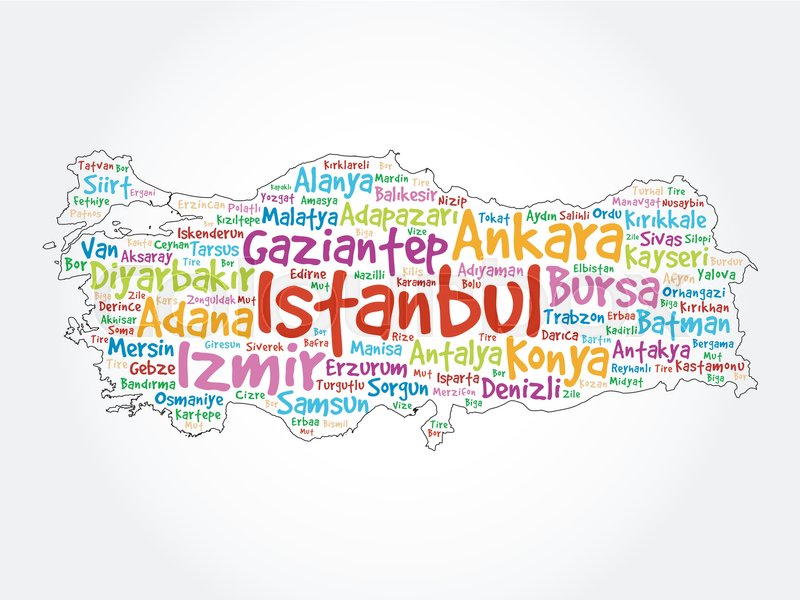 List of cities in Turkey word cloud ... | Stock vector ...