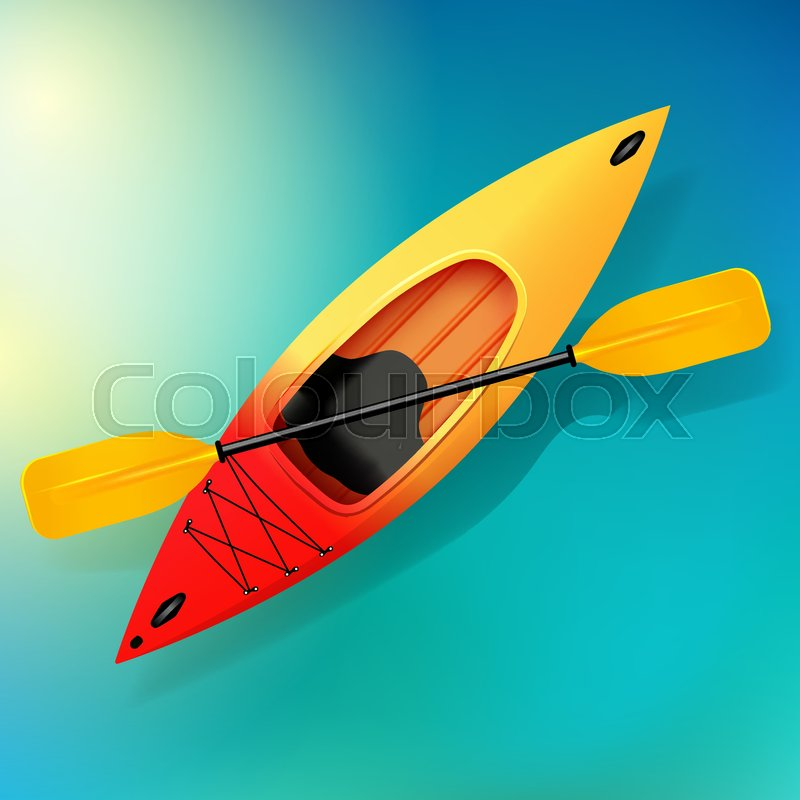 Kayak and paddle Vector on water illustration of Outdoor activities. Yellow red kayak, sea kayak, vector
