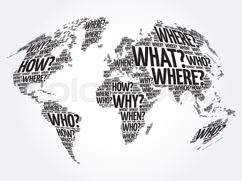 Question words world map in typography words cloud business question words world map in typography words cloud business concept background stock vector colourbox gumiabroncs Choice Image
