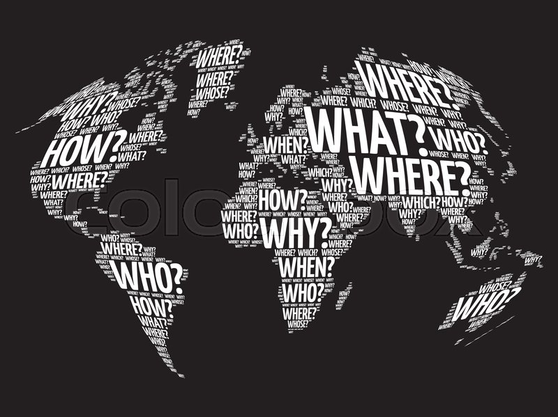 Question words world map in typography words cloud business concept question words world map in typography words cloud business concept background stock vector colourbox gumiabroncs Image collections