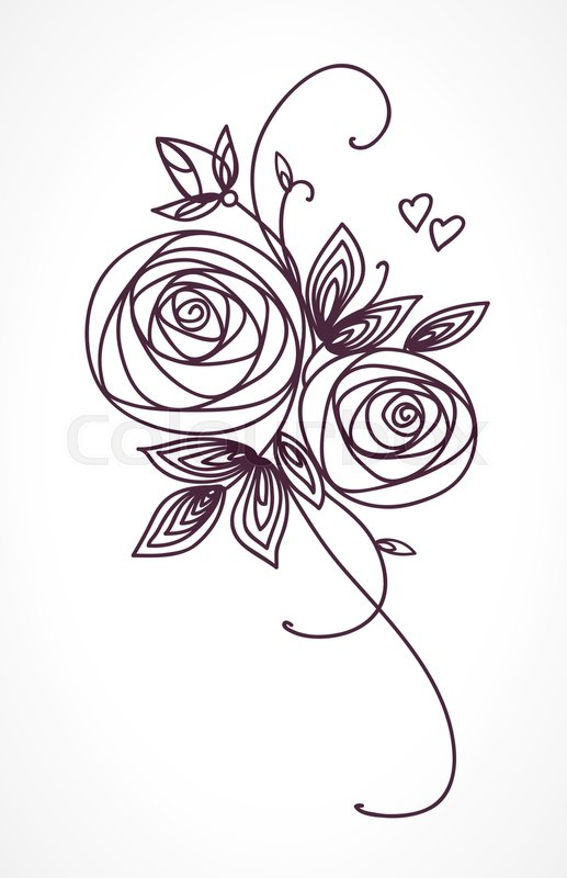 Wedding Flower Line Drawing : Roses stylized flower bouquet hand drawing outline icon