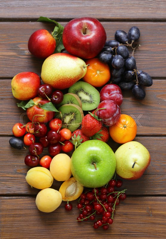 Stock image of 'Different fruits and berries, healthy food'