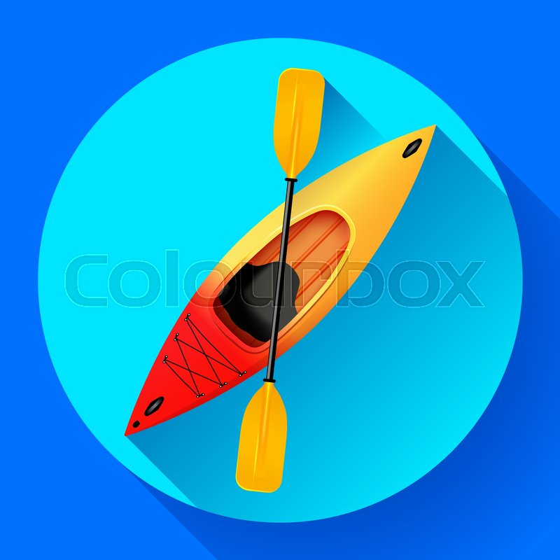 Kayak and paddle icon vector. Outdoor activities. Yellow red kayak, sea kayak flat icon, vector